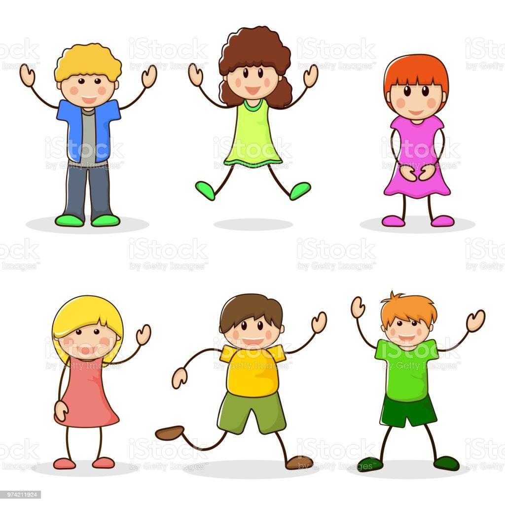 Ilustración De Niños Y Niñas Felices Juego De Los Niños De