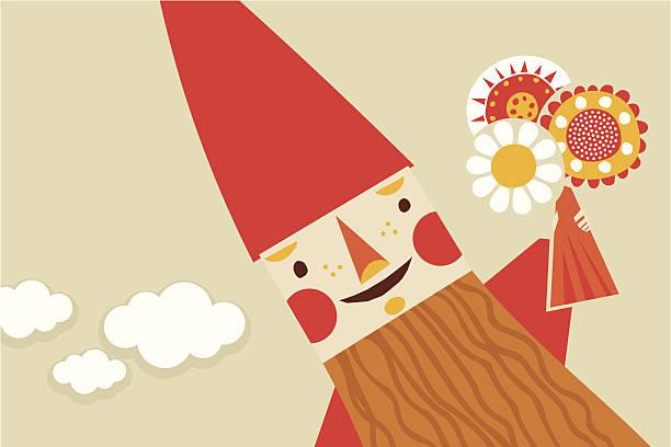 happy gnome - gartendekorationen stock-grafiken, -clipart, -cartoons und -symbole