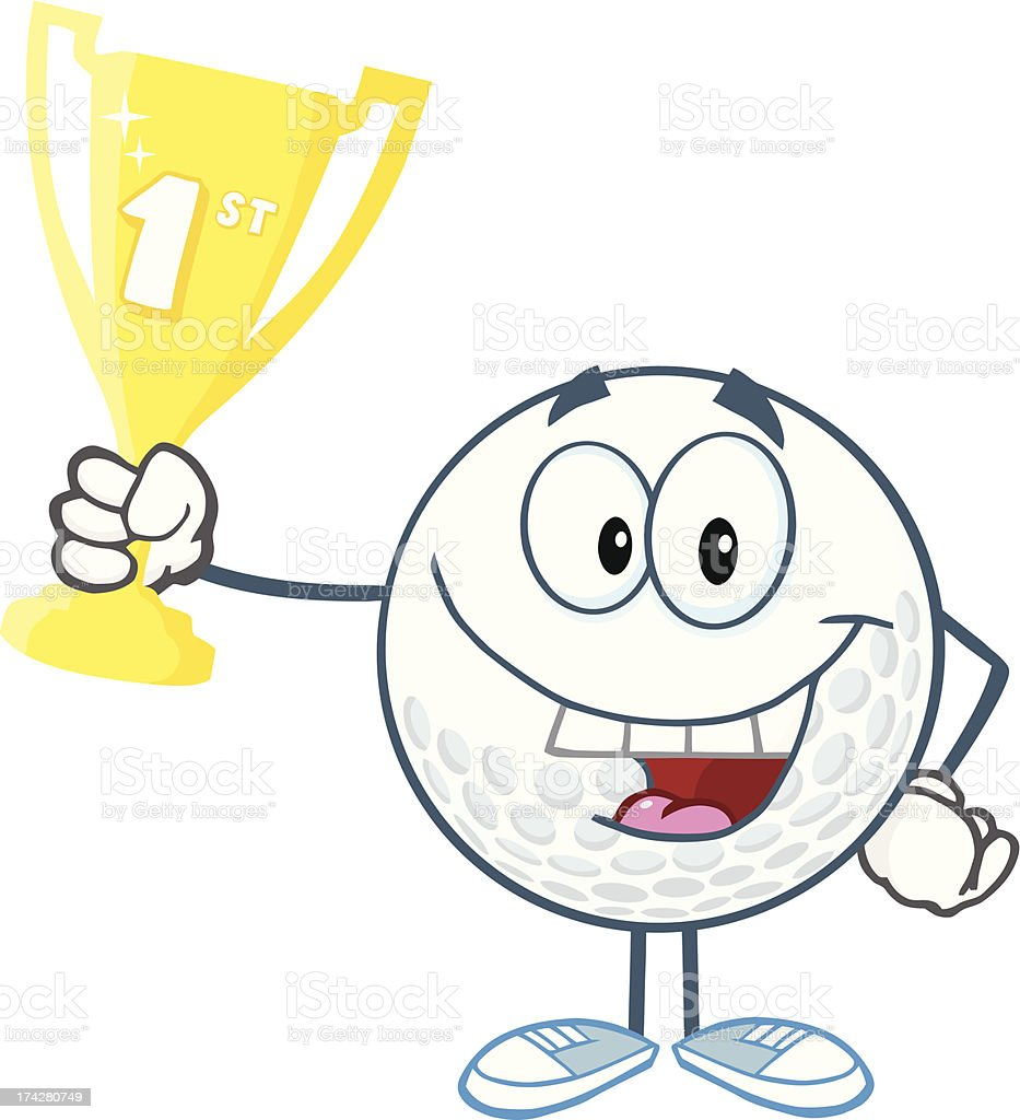 Happy Golf Ball Holding First Prize Trophy Cup Stock Illustration Download Image Now Istock