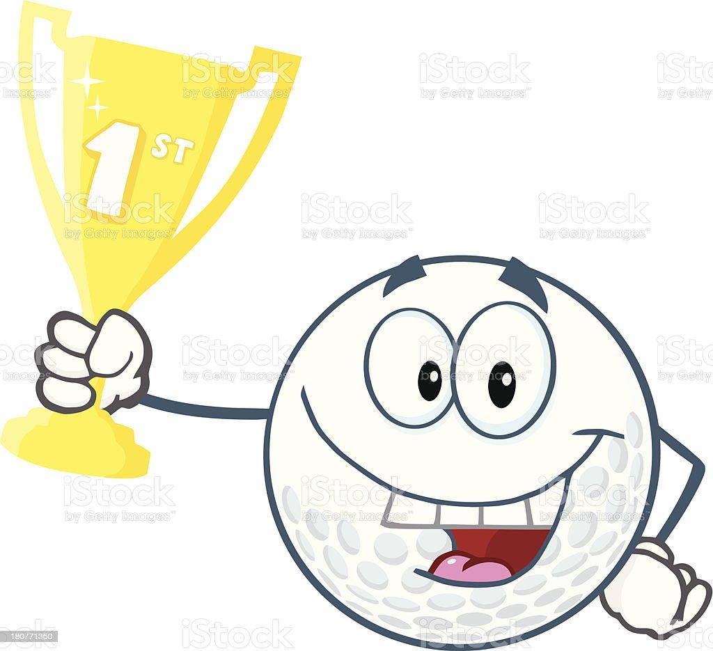 heureux balle de golf tenant un troph e coupe le premier prix vecteurs libres de droits et plus. Black Bedroom Furniture Sets. Home Design Ideas