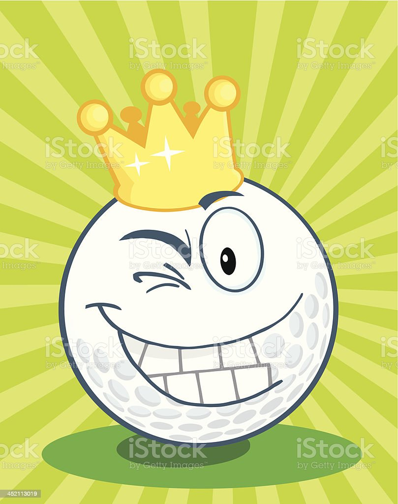 Happy Golf Ball With Gold Crown Winking royalty-free stock vector art