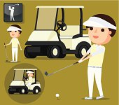 Golfer and related elements. Zip contains AI and hi-res jpeg.