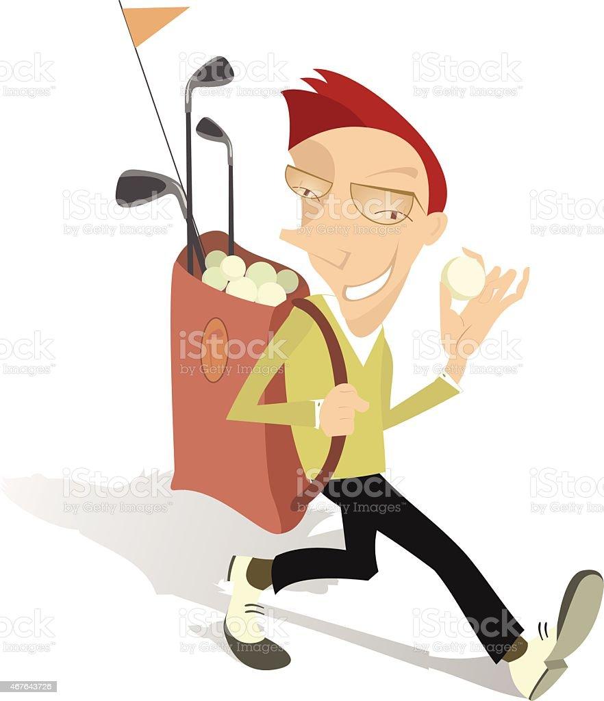 Happy golfer vector art illustration