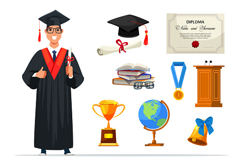 Happy graduate student and accessory set on white