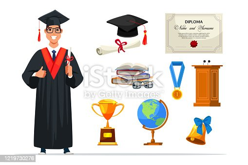 Graduate student wearing gown and hat holding diploma. Degree certificate roll, gold medal and trophy cup, globe, bell, tribune. Education and graduation accessory set isolated on white background