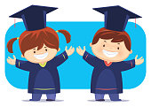 vector illustration of happy graduate students cheering