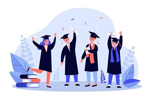 Happy graduated students flat vector illustration