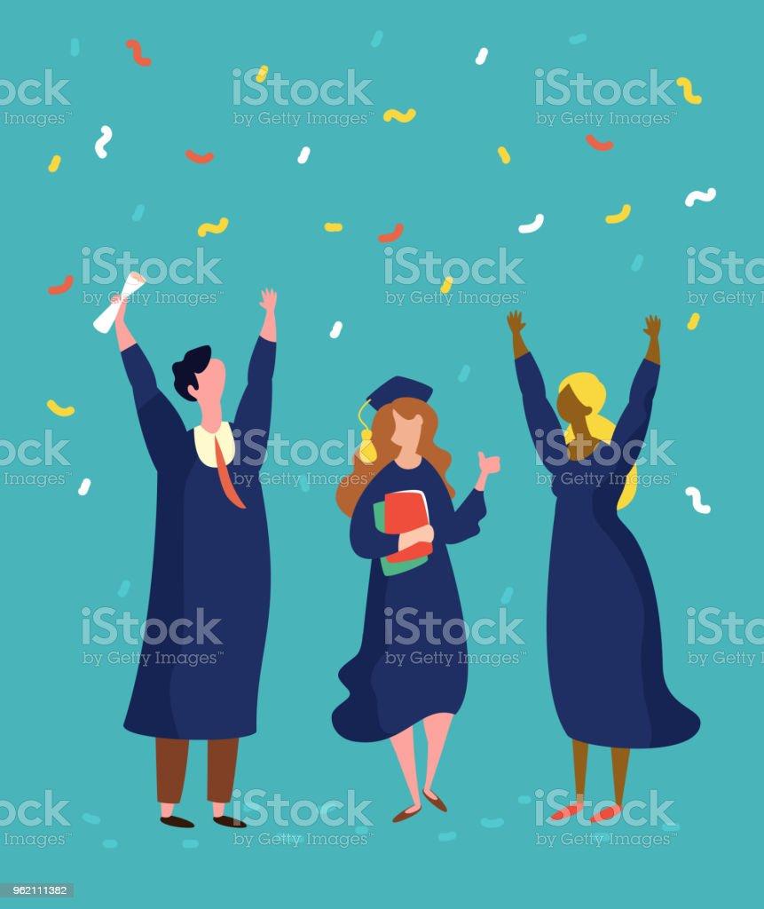 Glücklich Absolventen Mann und Frau Abschlussfeier – Vektorgrafik
