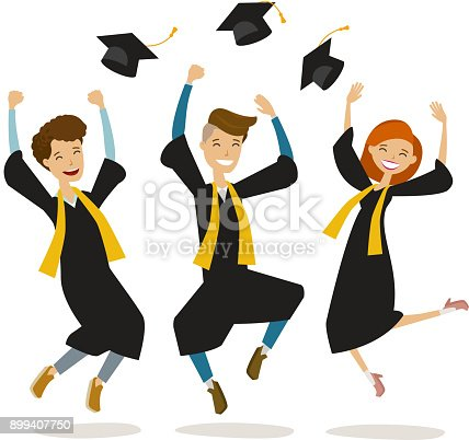 Happy Graduates Or Students Throw Hats Education College School Graduation Concept Cartoon Vector Illustration Stock Art More Images Of Contestant