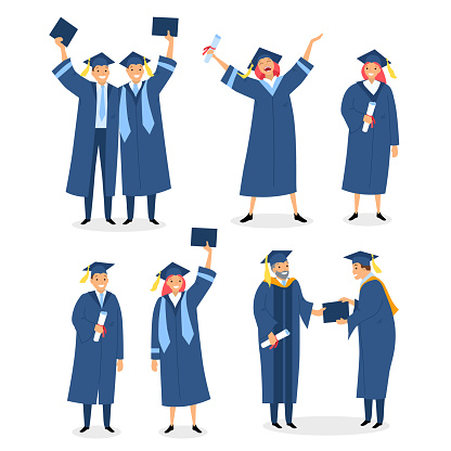 Happy graduates set with diploma and certificates. Graduation ceremony. Congratulations to alumnus and students who pass exams successfully vector illustration isolated