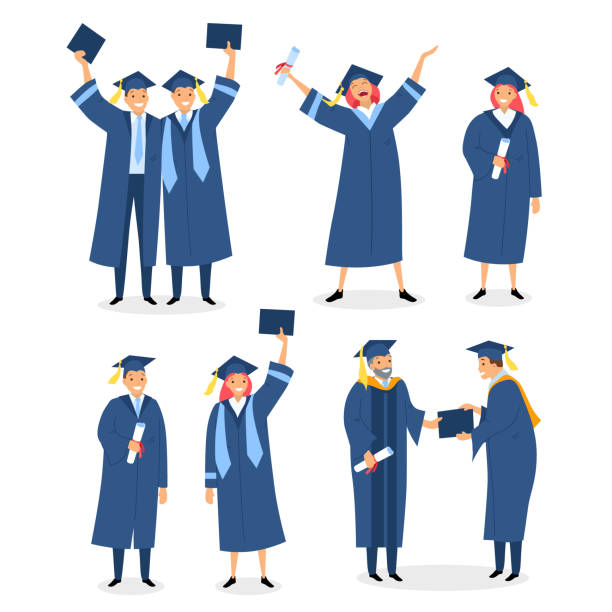 happy graduates set with diploma and certificates. graduation ceremony. congratulations to alumnus and students who pass exams successfully vector illustration isolated - graduation stock illustrations