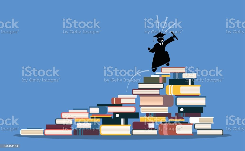 Happy graduating student climbing to the top of book piles. vector art illustration