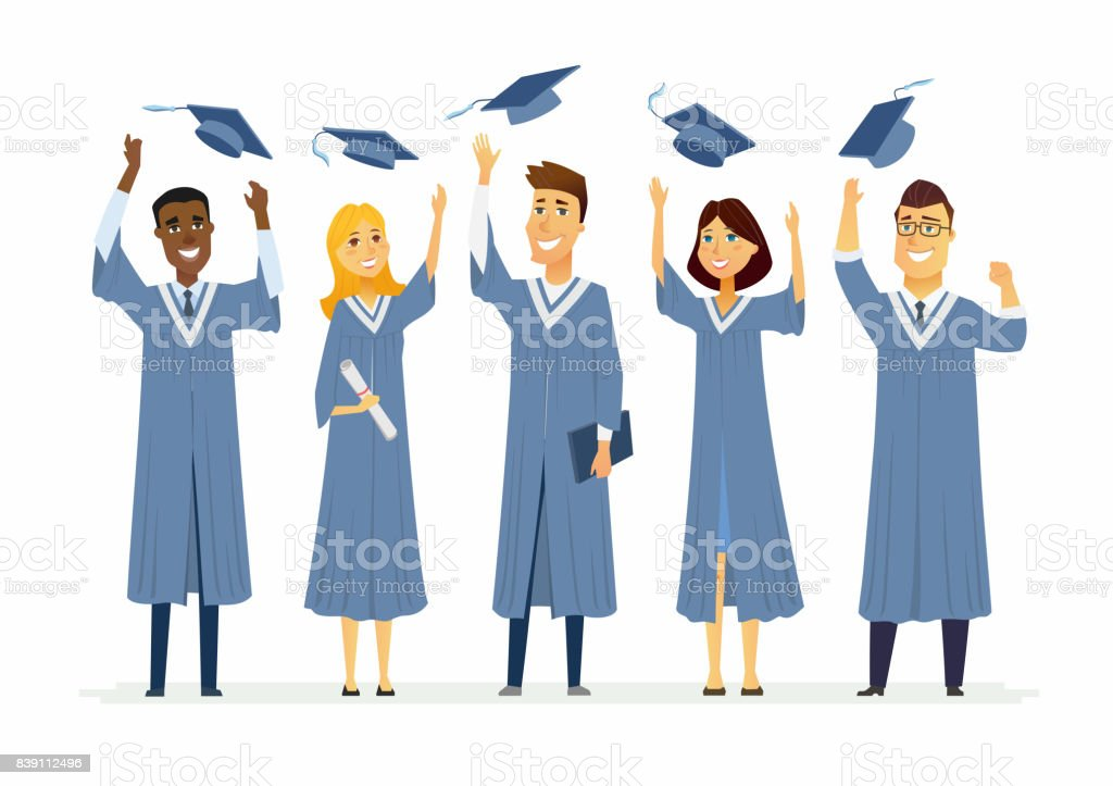 Happy Graduating Students Cartoon People Characters