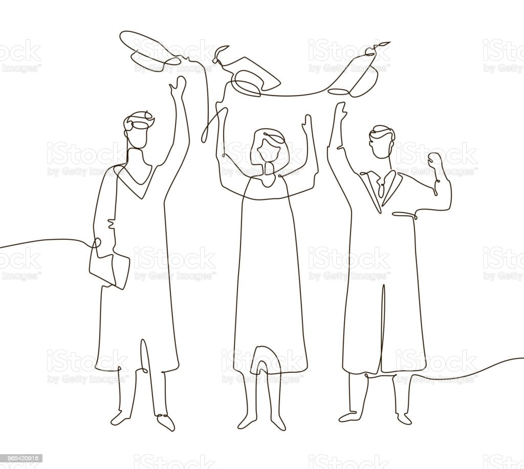 Happy graduating students - one line design style illustration royalty-free happy graduating students one line design style illustration stock vector art & more images of achievement