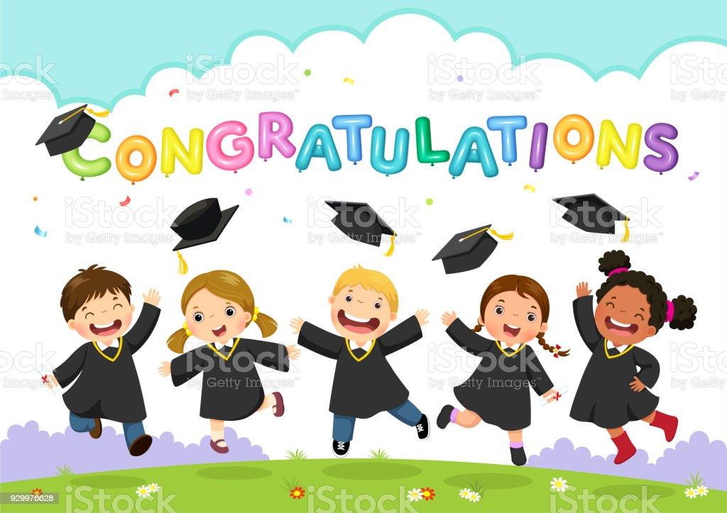 Glücklich Abschlusstag. Vektor-Illustration von Studenten feiern Abschluss – Vektorgrafik