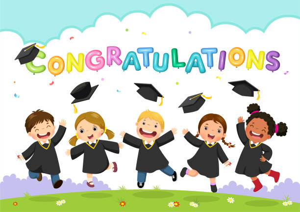 happy graduation day. vector illustration of students celebrating graduation - przedszkole stock illustrations