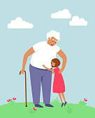 Happy grandfather and granddaughter are hugging. The girl is happy that she saw her grandfather. Spring and summer seasons. Elderly man with a cane. Flat vector illustration.