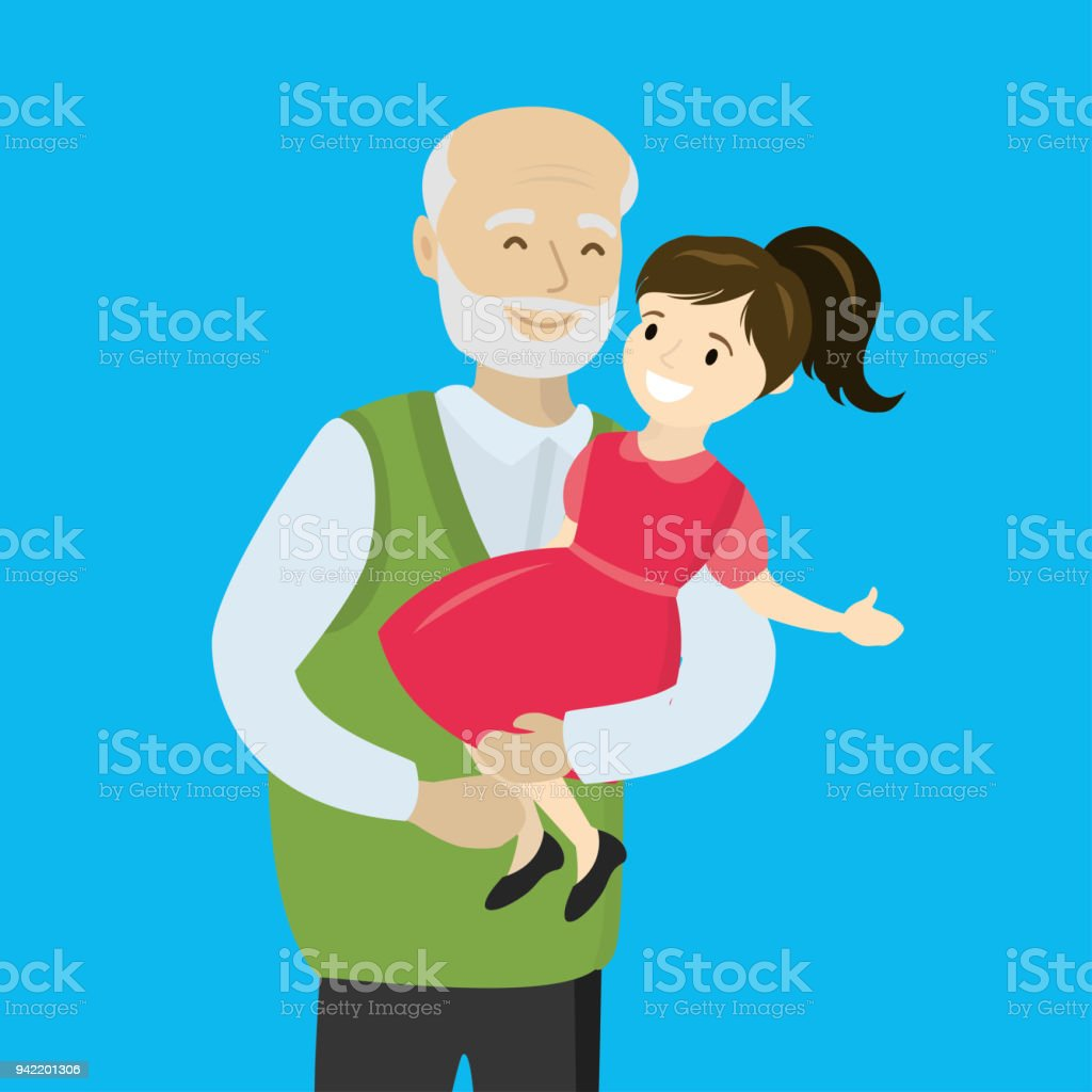 Happy Grandfather holds a granddaughter in his arms vector art illustration