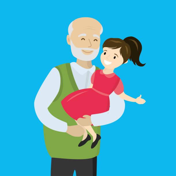ilustraciones, imágenes clip art, dibujos animados e iconos de stock de abuelo feliz tiene a una nieta en los brazos - nieta
