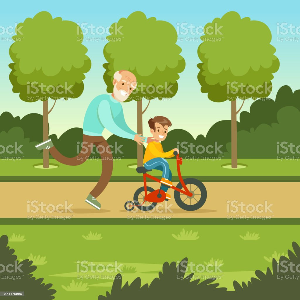 Glückliche Großvater unterrichten Kid Boy, die Fahrrad fahren – Vektorgrafik