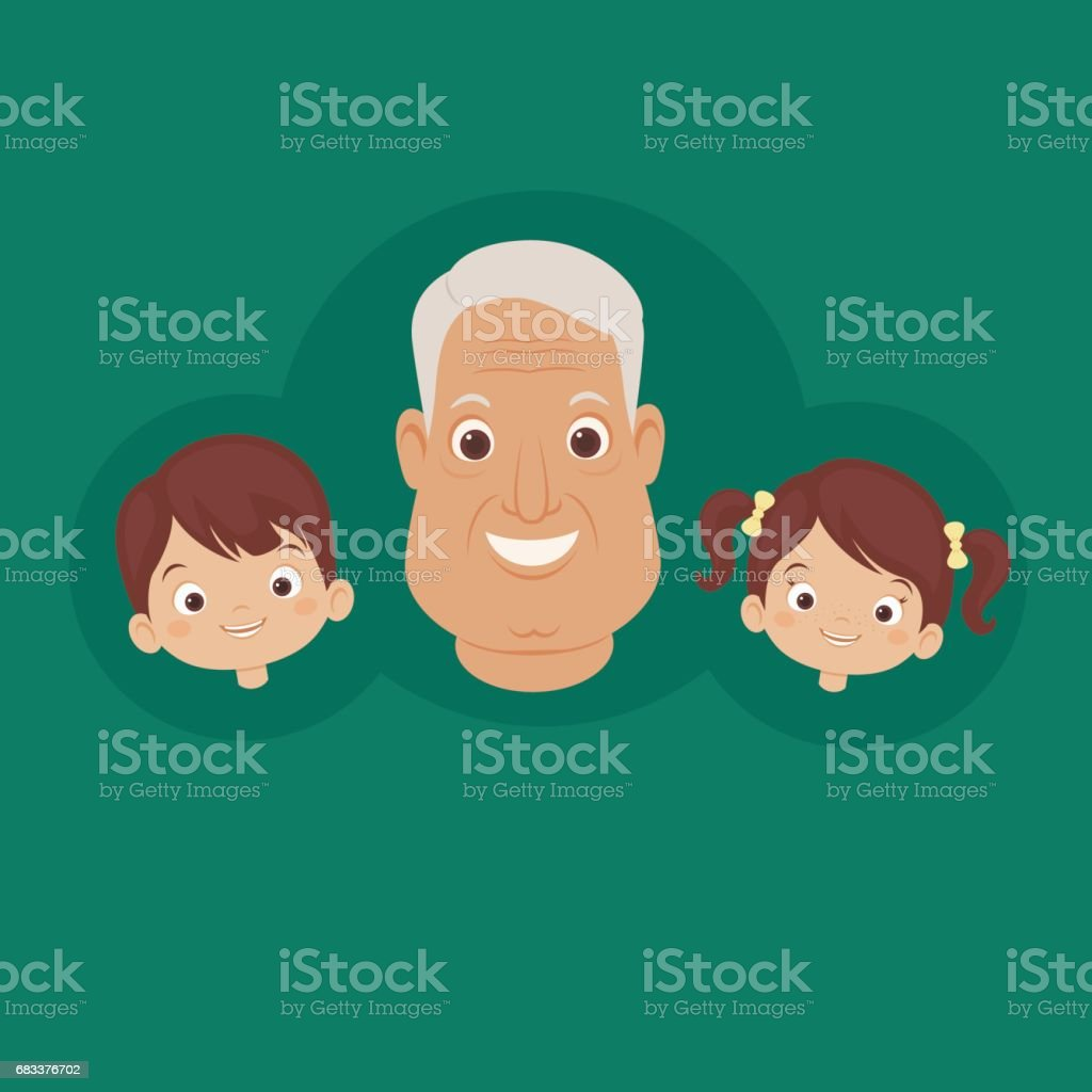 Happy grandfather with grandchildren vector art illustration