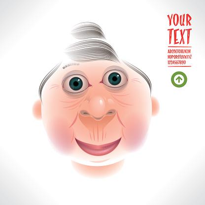 happy grandma caricature