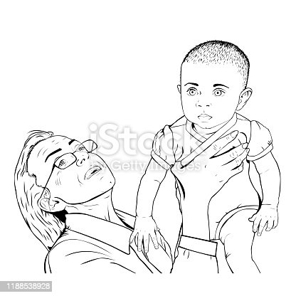 istock Happy grandma in glasses hugging a baby 1188538928