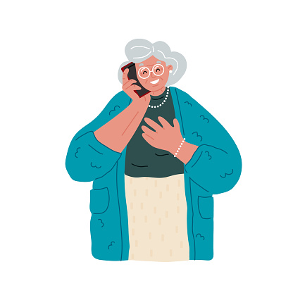 Happy grandmother in glasses talking on the mobile phone,white background.Vector flat illustration