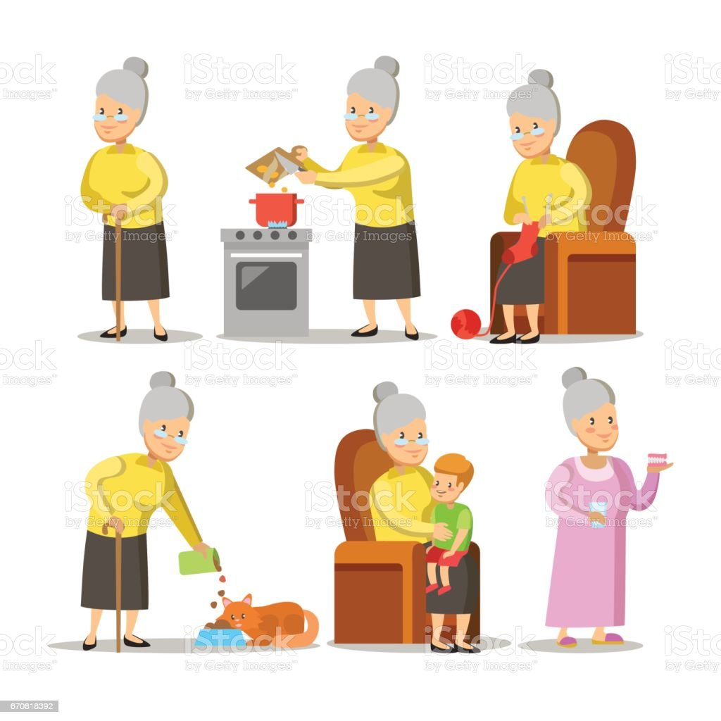 Happy Grandmother with Grandson Cartoon vector art illustration
