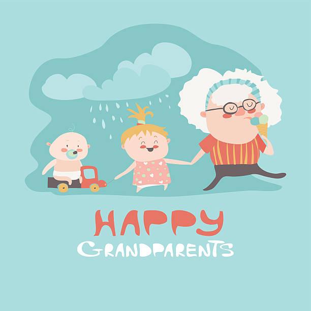 illustrazioni stock, clip art, cartoni animati e icone di tendenza di happy grandmother with their grandchildren - nonna e nipote camminare