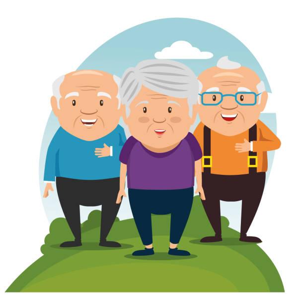 happy grandparents cartoon - old man portrait clip art stock illustrations, clip art, cartoons, & icons