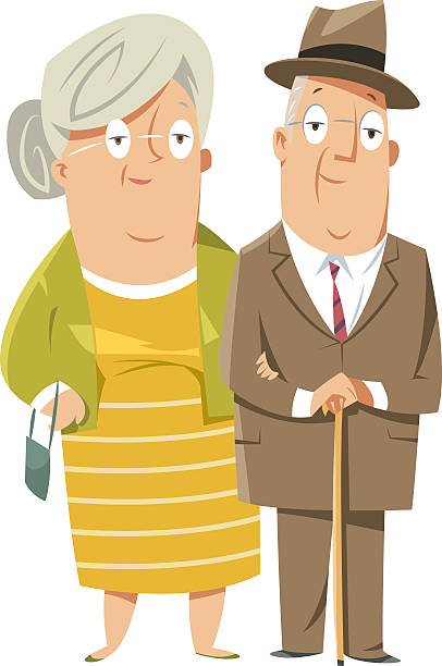 bildbanksillustrationer, clip art samt tecknat material och ikoner med happy grandparents couple - middle aged man dating
