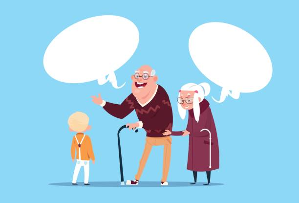 happy grandparents couple with grandson communicating modern grandfather and grandmother and small boy - old man smiling backgrounds stock illustrations, clip art, cartoons, & icons