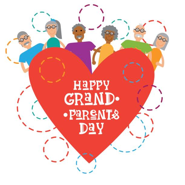 Happy Grandparents Day Greeting Card Banner vector art illustration