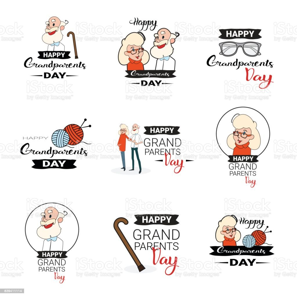 Happy Grandparents Day Greeting Card Banners Set Text Over White Background vector art illustration