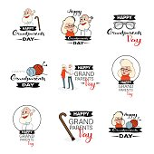 Happy Grandparents Day Greeting Card Banners Set Text Over White Background