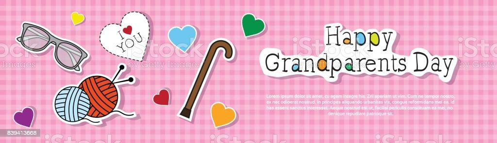 Happy Grandparents Day Greeting Card Colorful Banner Pop ...