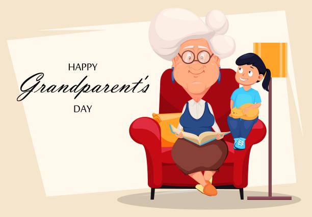 ilustraciones, imágenes clip art, dibujos animados e iconos de stock de abuelos felices día tarjeta de felicitación - nieta