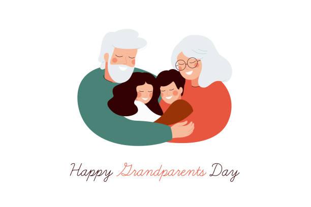 ilustraciones, imágenes clip art, dibujos animados e iconos de stock de feliz tarjeta de felicitación del día de los abuelos. - nietos