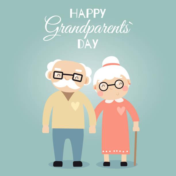 illustrazioni stock, clip art, cartoni animati e icone di tendenza di happy grandparents day greeting poster. cartoon vector illustration - grandparents