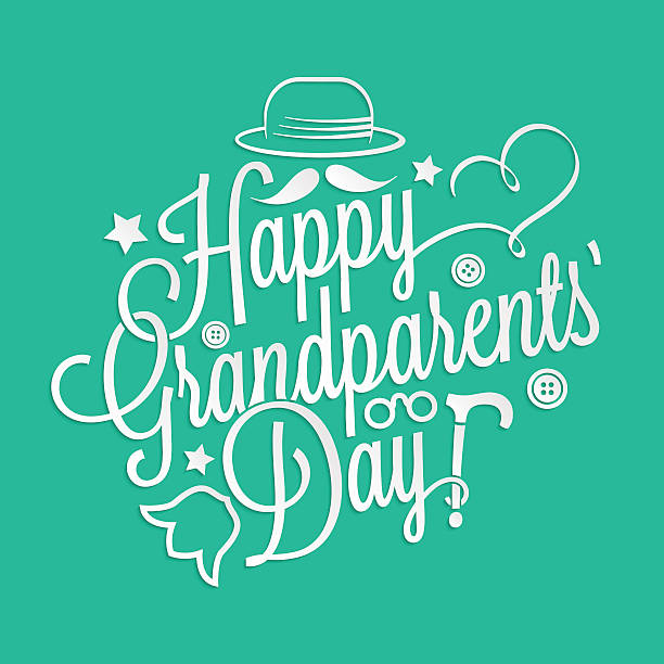 Happy Grandparents' Day lettering vector art illustration