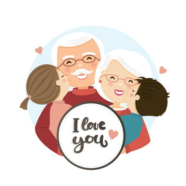illustrazioni stock, clip art, cartoni animati e icone di tendenza di happy grandparents day scene. family hug - grandparents