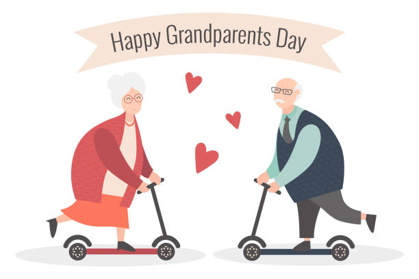 Happy Grandparents day. Vector cartoon illustration. Grandpa and grandma. Elderly couple. Old woman and old man on the scooter. vector art illustration