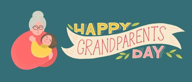 happy grandparents day - babka dziadek i babcia stock illustrations