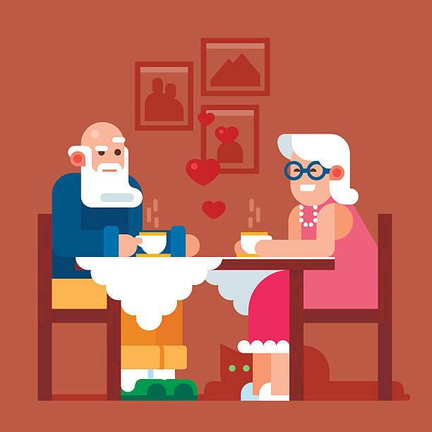 happy grandparents drink tea - old man slippers stock illustrations, clip art, cartoons, & icons