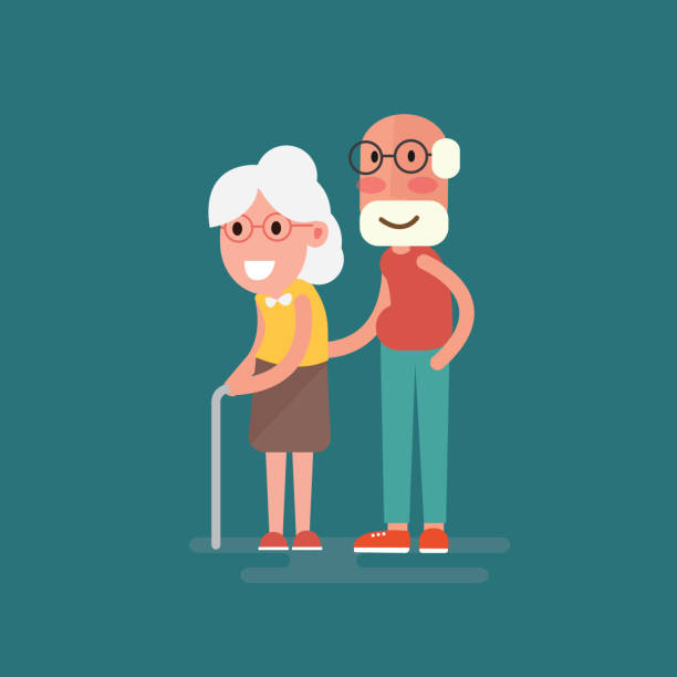 happy grandparents holding hands cartoon style - old man smile silhouette stock illustrations, clip art, cartoons, & icons