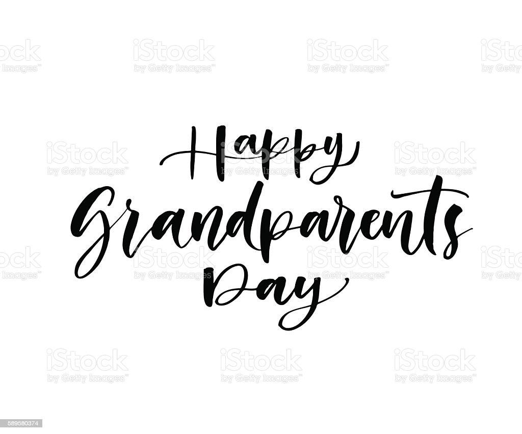 Happy Grandparents phrase. - ilustração de arte em vetor