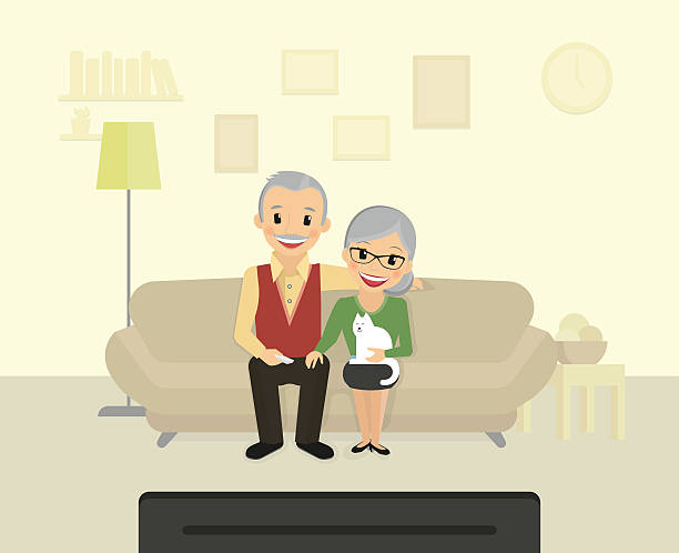 happy grandparents sitting at home and watching a tv - old man sitting backgrounds stock illustrations, clip art, cartoons, & icons