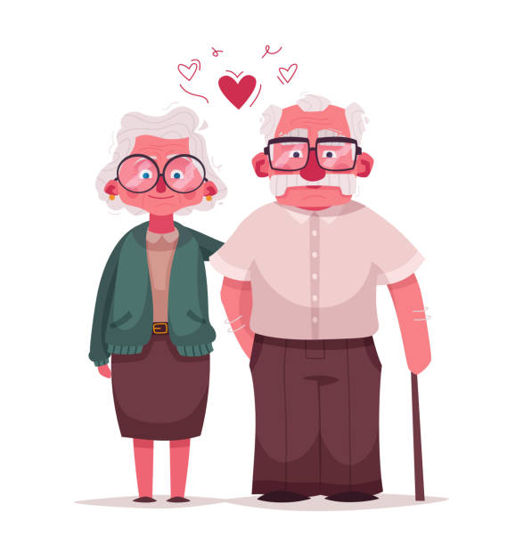 illustrazioni stock, clip art, cartoni animati e icone di tendenza di happy grandparents. vector cartoon illustration. grandparents day - grandparents