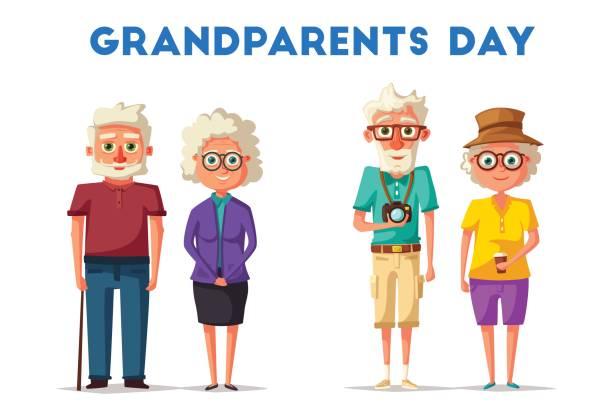 happy grandparents. vector cartoon illustration. grandparents day - old man glasses cartoon stock illustrations, clip art, cartoons, & icons